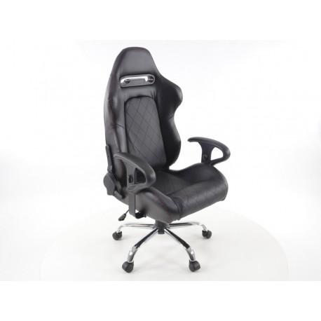 Silla oficina con reposabrazos Detroit sports seats, negro piel, 2nd Hand