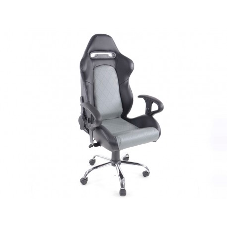 Silla oficina con reposabrazos Detroit sports seats, piel negro / gris, 2nd Hand