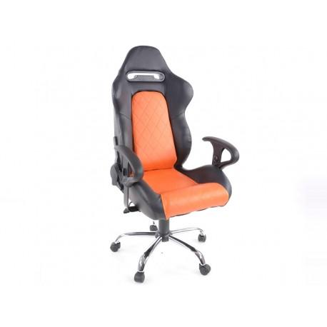 Silla oficina con reposabrazos Detroit sports seats, piel negro / naranja, 2nd Hand