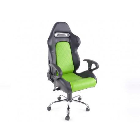 Silla oficina con reposabrazos Detroit sports seats, piel negro / verde, 2nd Hand