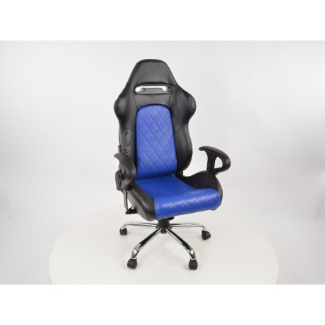 Silla oficina con reposabrazos Detroit sports seats, piel negro / azul, 2nd Hand