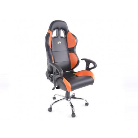 Phoenix Silla oficina deportiva con reposabrazos, piel negro / naranja, 2nd Hand