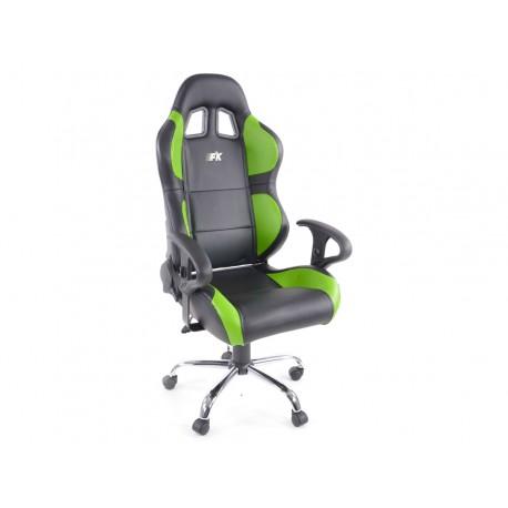 Phoenix Silla oficina deportiva con reposabrazos, piel negro / verde, 2nd Hand