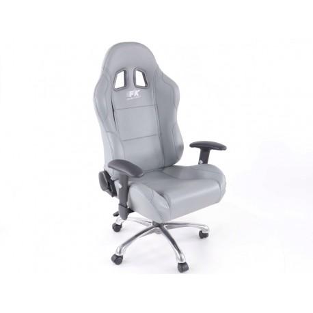 Silla oficina deportiva con reposabrazos, gris piel, negro seam