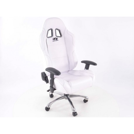 Silla oficina deportiva con reposabrazos, piel, blanca, negro seam