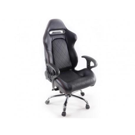 Silla oficina gaming con reposabrazos piel sintetica negro