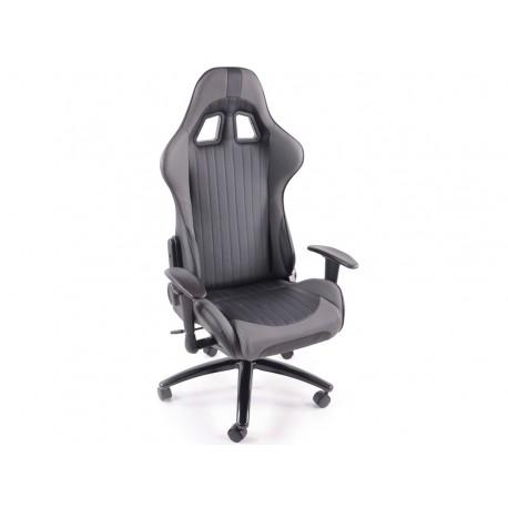 Silla oficina gaming con reposabrazos piel sintetica negro/gris