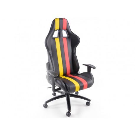 Silla oficina gaming con reposabrazos piel sintetica negro/rojo/amarillo