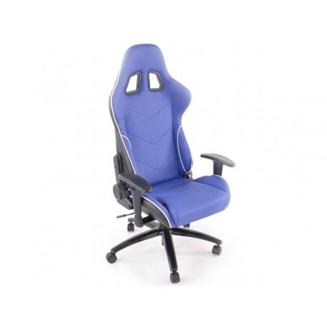 Silla oficina gaming con reposabrazos piel sintetica azul