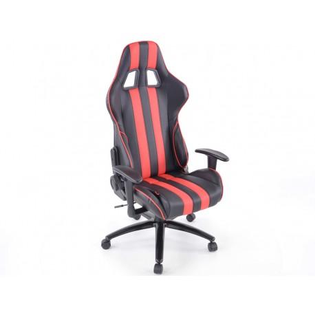 Silla oficina gaming con reposabrazos piel sintetica negro/rojo