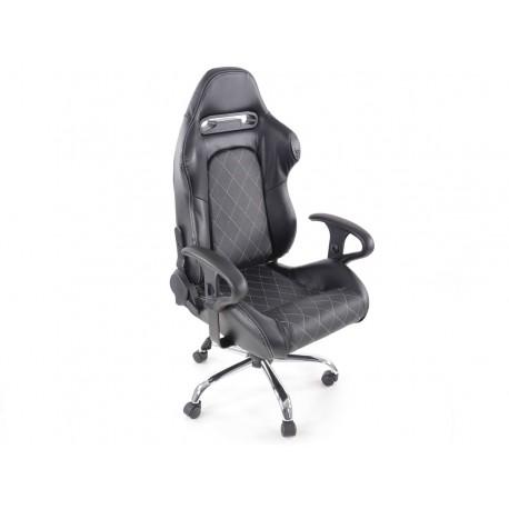 Silla oficina gaming con reposabrazos fabric negro/blanca