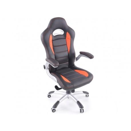 Silla oficina piel sintetica negro / naranja con reposabrazos ajustables