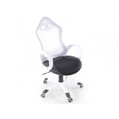 Silla oficina piel sintetica/net blanca con reposabrazos