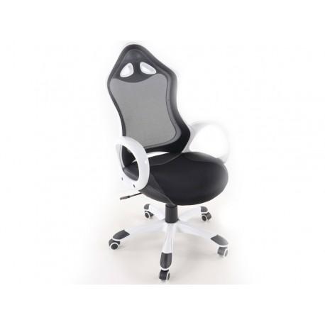 Silla oficina piel sintetica/net blanca/negro con reposabrazos