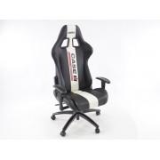 Silla oficina gaming con reposabrazos piel sintetica negro/blanca