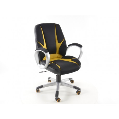 Silla oficina artificial piel Net negro/naranja con reposabrazos