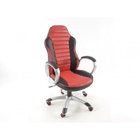 Silla oficina artificial piel negro/rojo con reposabrazos