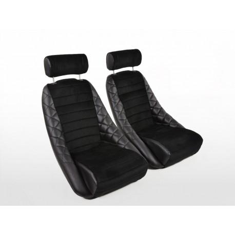 FK Oldtimersitze Juego de Classic 3 cuero sintético negro con reposacabezas sin rieles para correr