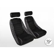 Asientos FK Oldtimer Asientos envolventes para coche Set Classic 3 de cuero sintético negro con reposacabezas con rieles para co
